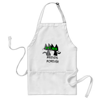 Two Cats are Friends Forever Aprons