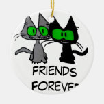 Two Cats are Friends Forever Christmas Ornament