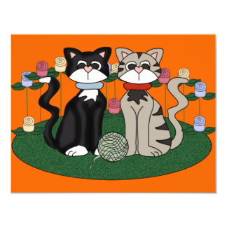 Two Cats Birthday party 4.25x5.5 Paper Invitation Card