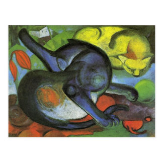 Two Cats, Blue and Yellow by Franz Marc Postcard