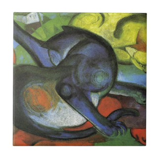 Two Cats, Blue and Yellow by Franz Marc Tile