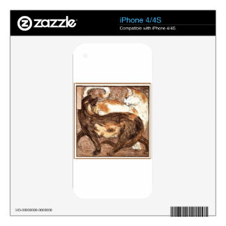 Two cats by Franz Marc Decals For iPhone 4S