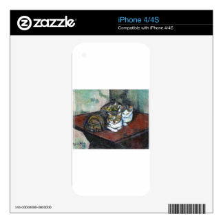 Two cats by Suzanne Valadon Decals For The iPhone 4S