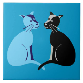 two cats ceramic tile