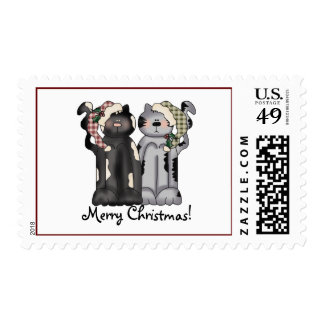 Two Cats Christmas Stamp