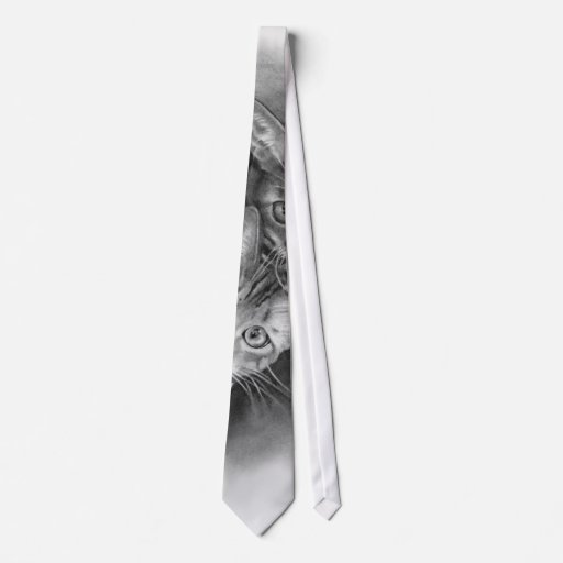 Two Cat's Eyes Close Up: Pencil Drawing Neck Tie | Zazzle