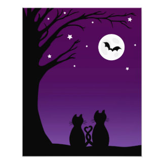 Two Cats Gazing At The Moon Photo Art