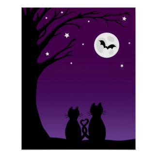 Two Cats Gazing At The Moon Poster