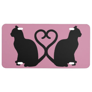 Two Cats Heart License Plate