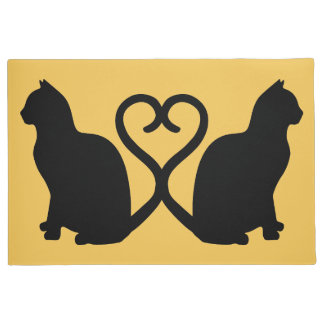 Two Cats Heart Silhouette Doormat