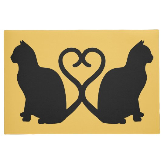 Two Cats Heart Silhouette Doormat Zazzle Com