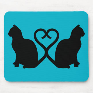 Two Cats Heart Silhouette Mousepad