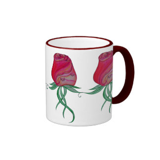 Two Cats in a Rose-Red Ringer Mug