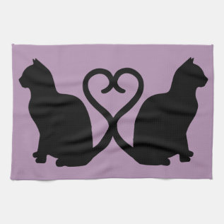 Two Cats In Love Silhouette Kitchen Towel at Zazzle
