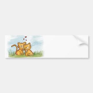 Two cats in love - watercolor illustration bumper sticker