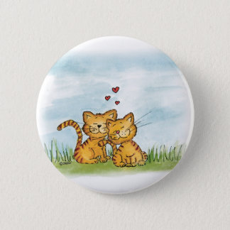 Two cats in love - watercolor illustration button