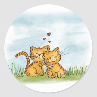 Two cats in love - watercolor illustration classic round sticker
