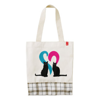 Two cats in love zazzle HEART tote bag