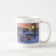 Two Cats in the Snow With A Snowman Coffee Mugs