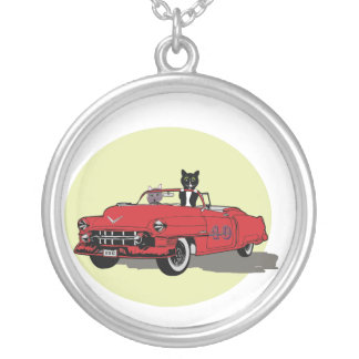Two Cats Joyriding In Red Car pendant necklace