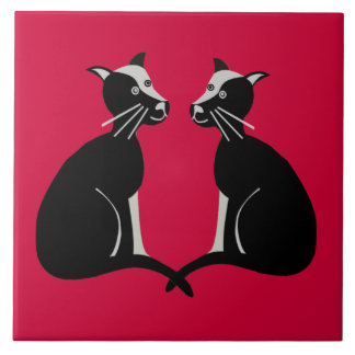 two cats large square tile