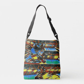 Two Cats Lay in Stairway for Him or Her Crossbody Bag