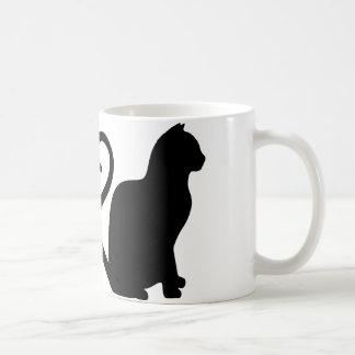 Two Cats Make a Heart Silhouette Coffee Mug