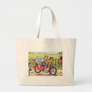Two Cats On a Motorcycle Canvas Bag