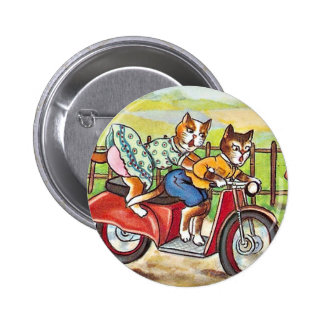 Two Cats On a Motorcycle Pinback Button