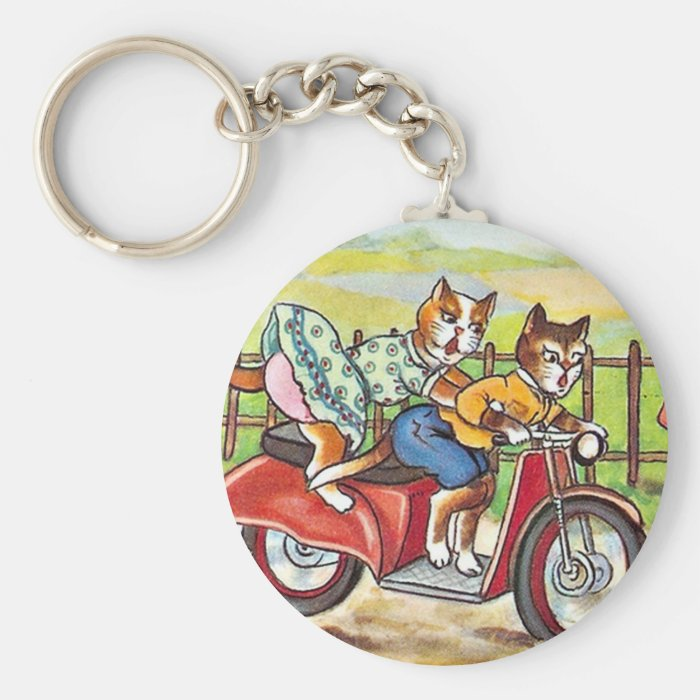 Two Cats On a Motorcycle Keychain