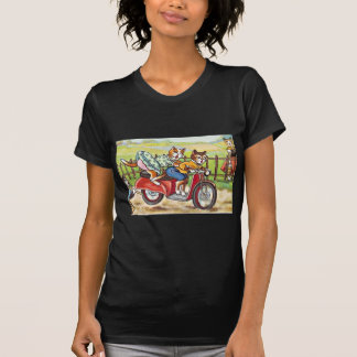 Two Cats On a Motorcycle Tee Shirt