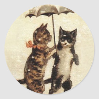 Two Cats One Umbrella Round Stickers