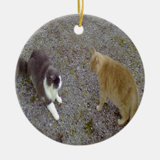 Two Cats Christmas Tree Ornaments