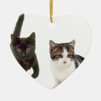 Two Cats Double-Sided Heart Ceramic Christmas Ornament