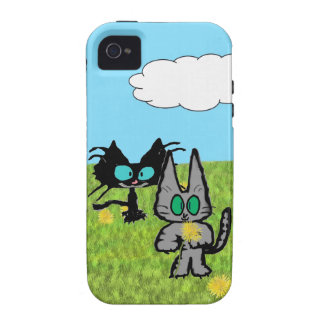 Two Cats Picking Dandelions iPhone 4 Cases