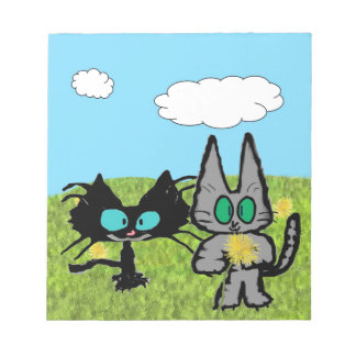 Two Cats Picking Dandelions Memo Pads