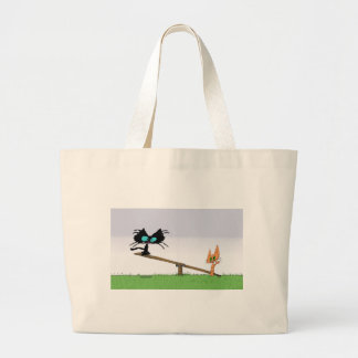 Two Cats Play On A See-Saw Canvas Bags