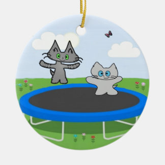 Two Cats Play On A Trampoline Christmas Tree Ornament