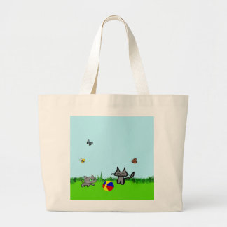 Two Cats Playing In The Summer Sun Tote Bag