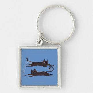 Two Cats Playing Keychain