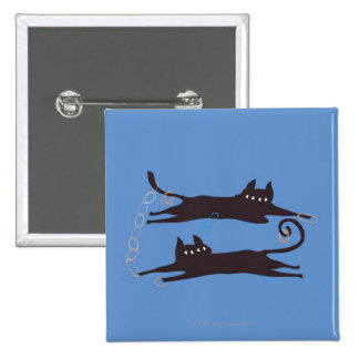 Two Cats Playing Pinback Button