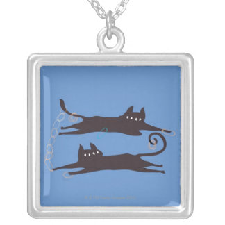 Two Cats Playing Silver Plated Necklace