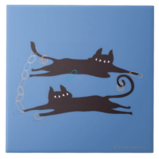 Two Cats Playing Tile
