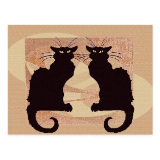 Two Cats Print Japanes Style Neko Postcard