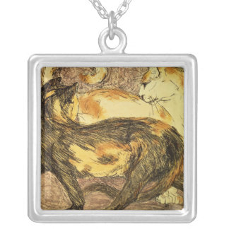 Two Cats Silver Plated Necklace
