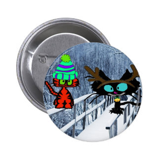 Two Cats Sit On A Snow Covered Bridge Pinback Buttons