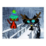 Two Cats Sit On A Snow Covered Bridge Postcards