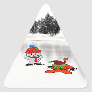 Two Cats Skate On A Frozen Lake Stickers
