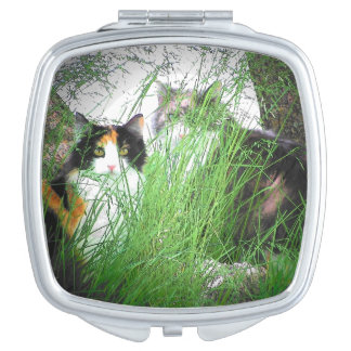 Two Cats, Tall Grass Vanity Mirror