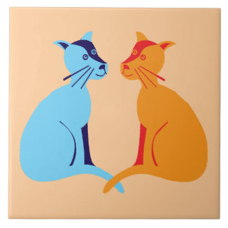 two cats tile